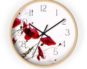 Deep Red Poppies Minimalist Wall Clock