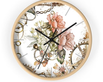 Floral and Feminine Steampunk Circular Wall Clock
