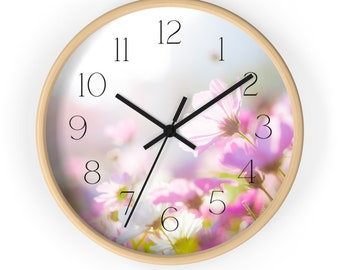 Pink Cosmos Flower Wall Clock