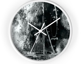 SAILBOAT PATENT CLOCK - Vintage Sailboat Patent Print Wall Clock, Nautical Art, Nautical Clock