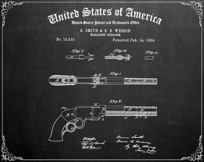 VINTAGE GUN PATENT Print, Digital Download, Gun Poster, Gifts For Him, Man Cave Wall Art, Minimalist Gallery, Printable Wall Art
