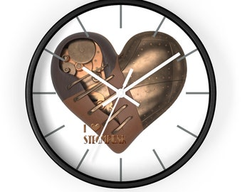 STEAMPUNK WALL CLOCK With Mechanical Heart, Steampunk Decor, I Heart Steampunk logo, Romantic Clock