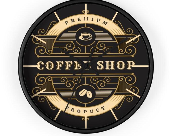 VINTAGE COFFEE SHOP Wall  Clock - Premium Coffee Shop Decor, Restaurant Decor, Barista Gift, Coffee Lover Gift, Analog Clock