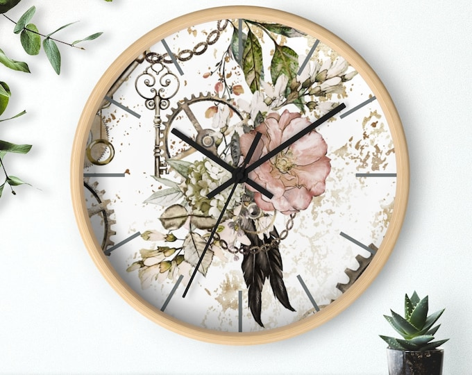 FEATHER STEAMPUNK CLOCK - Floral, Gears, Feathers, Chains, Craft Room Decor, For Her