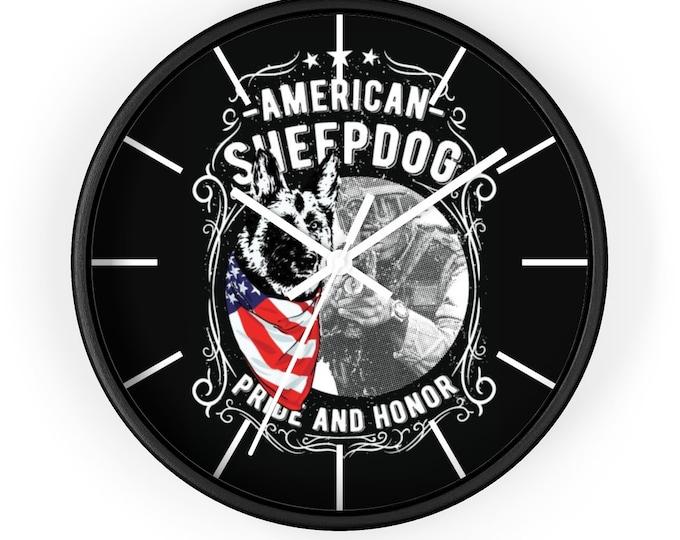 Patriotic Sheep Dog Man Cave Wall Clock