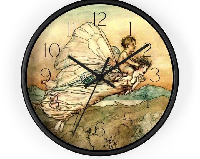 Fantasy Wall Clock | Arthur Rackham Print | Analog | Fairy Clock | Nursery Decor | Office Decor | Home Decor