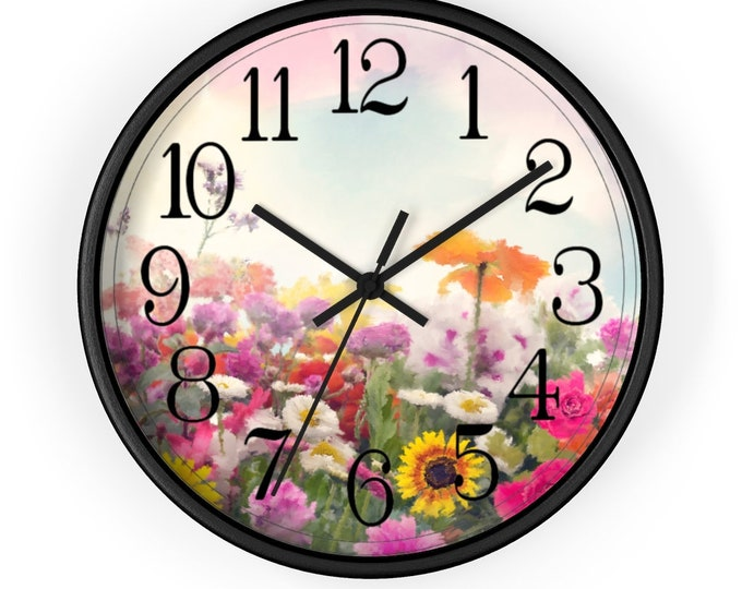 Silent Analog Wall Clock, Floral, Flowers, Home Decor, Craftroom, Gift For Her