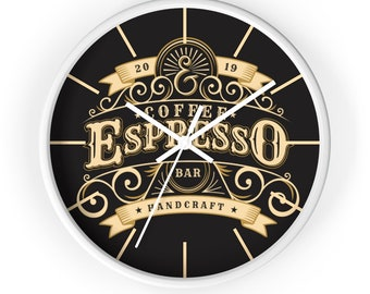 ESPRESSO COFFEE CLOCK - Steampunk, Victorian Era, Classic Coffee Shop Decor, Vintage Decor