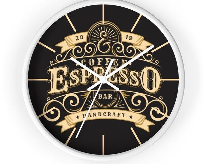ESPRESSO COFFEE CLOCK - Steampunk, Victorian Era, Classic Coffee Shop Decor, Vintage Decor