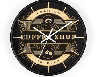VINTAGE COFFEE SHOP Wall  Clock - Premium Coffee Shop Decor, Restaurant Decor, Barista Gift, Coffee Lover Gift