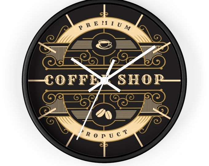 VINTAGE COFFEE SHOP Wall  Clock - Premium Coffee Shop Decor, Restaurant Decor, Barista Gift, Coffee Lover Gift