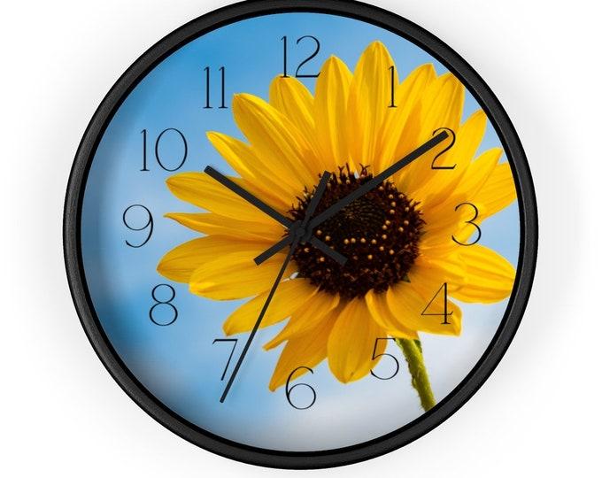 Off Center Sunflower Against The Sky Blue Heavens Analog Wall Clock