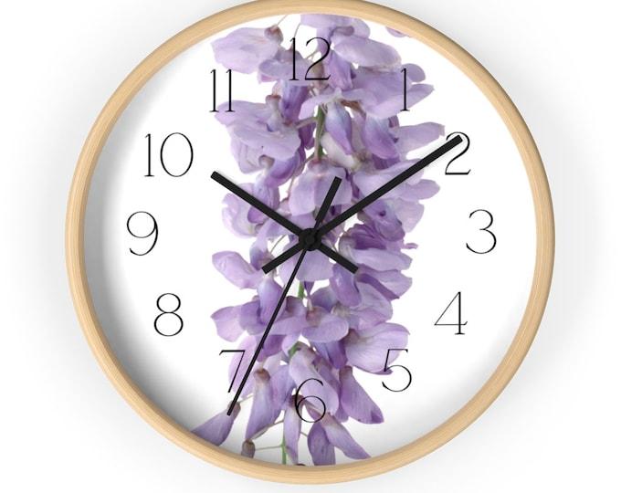 Long Spring Wisteria Flower Wall Clock
