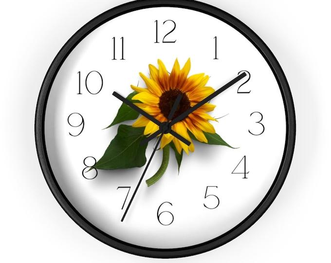 Sunflower Minimalist Pretty Analog Wall Clock