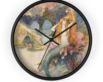 Mermaid Fantasy Wall Clock Features Warwick Goble Print