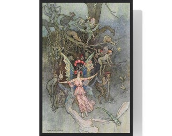 Framed Warwick Goble Fairy and Centaur With Mythological Creatures Print