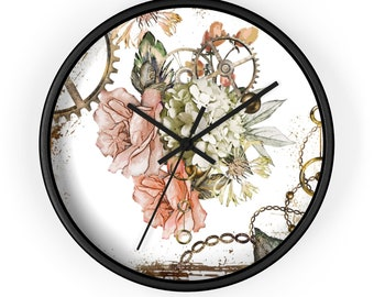STEAMPUNK FLOWERY WALL Clock - Victorian Analog Clock, Roses and Gears