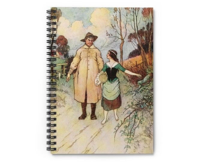 Spiral Notebook Ruled With Lines Features Man and Woman Walking Warwick Goble Print Sky Blue Background