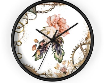 ROSE WALL CLOCK - Steampunk Victorian Flowery Analog Clock