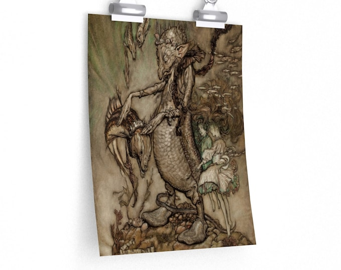 UNDERWATER CREATURES RACKHAM Print - Elves, Carp, Fantasy Art Print, Book Illustration, Child Room Decor, Vintage Poster