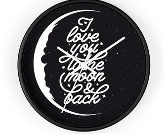 ROMANTIC WALL CLOCK - Moon, Quote, Stars, Ten Inch Clock