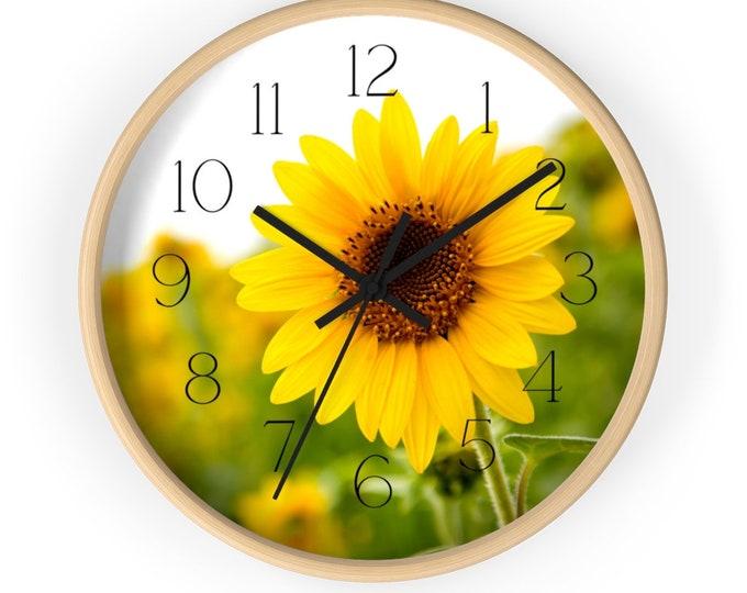 Green Field With Sunflower Wall Clock