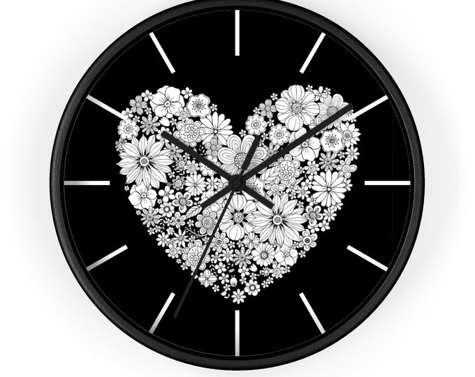ROMANTIC VALENTINES CLOCK - Heart Clock, Flower Clock, Black and White Clock, Valentines Gift For Him or For Her
