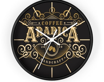 ARABICA COFFEE SHOP Wall Clock - Vintage, Art Deco, Steampunk, Classic Coffee Decor, Barista Gift, Coffee Lover Gift