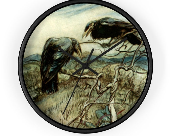 Corbie Wall Clock | Arthur Rackham Print | Analog | Ravens | Watercolor | Rustic Decor