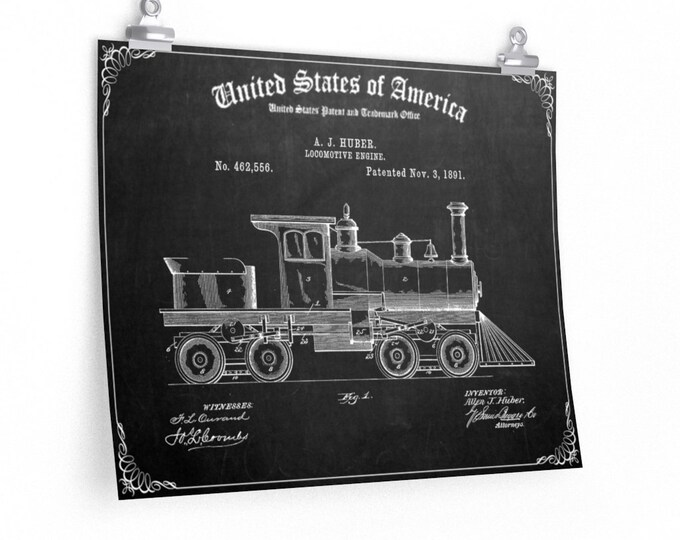 US Locomotive Patent Print Poster