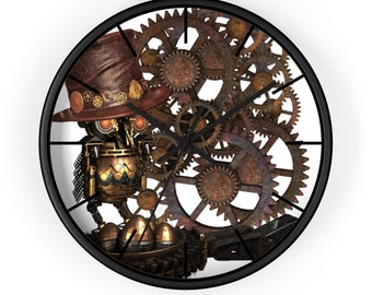 STEAMPUNK WALL CLOCK - Mechanical Owl with a Hat