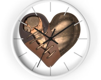 Stitched Mechanical Steampunk Heart Analog Wall Clock