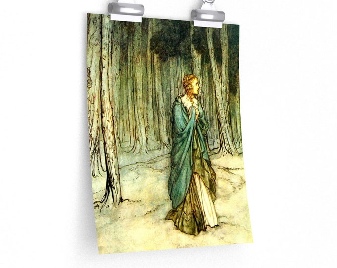 WOMAN IN FOREST -Arthur Rackham BookPlate Print, Enchanted Forest, Fairies, Fantasy