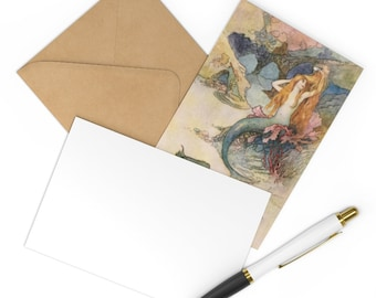 Postcards Set of 7 Warwick Goble Mermaid Print Craft Envelope