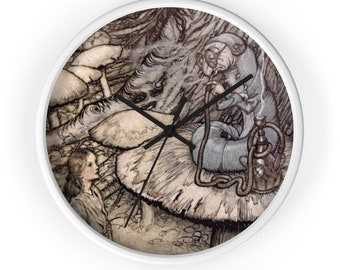 Alice In Wonderland Fairy Tale Clock, Baby Shower Gift, Nursery Decor Clock, Arthur Rackham, Wall Clock, Home Decor, Nursery Wall Art