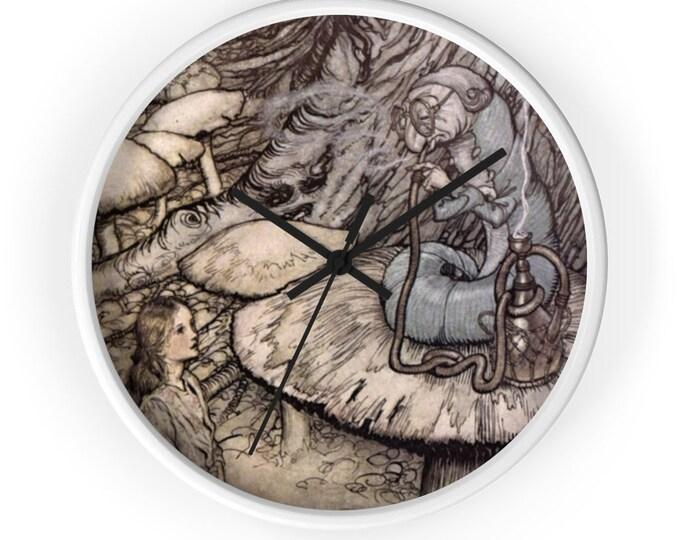 Alice In Wonderland Fairy Tale Clock, Baby Shower Gift, Nursery Decor Clock, Arthur Rackham, Wall Clock, Home Decor, Nursery Wall Art