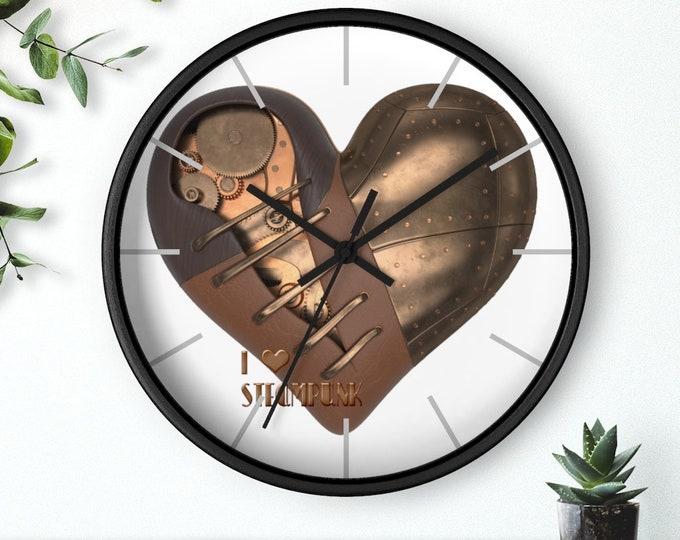 Steampunk Mechanical Heart I Love Steampunk Analog Wall Clock