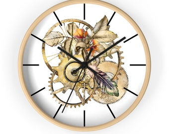 STEAMPUNK CLOCK - Golden Gears Printed On White Background, Fall Colors, Native American Feather