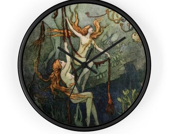 Mermaids Under Water Wall Clock Features Warwick Goble Print