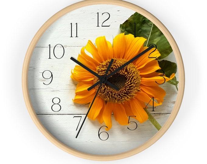 Sunflower on Beadboard Nature Inspired Wall Clock