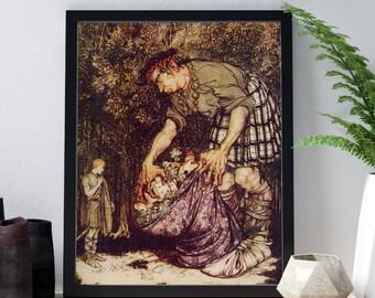 Arthur Rackham Print - Jack and the Beanstalk Book Illustration of Boy and Giant