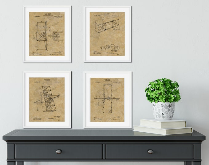 WRIGHT BROTHERS AIRPLANE Patent Print - 4 Print Set on Antique Paper Background, Digital Download