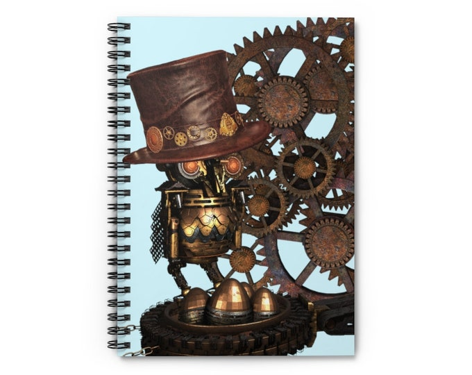 Mechanical Owl With Top Hat and Bronze Gears on a Sky Blue Color Background Spiral Lined Notebook