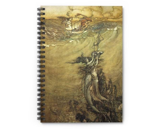 MERMAIDS ARTHUR RACKHAM - Journal, Lined Notebook, Spiral Notebook, Blank Book, Journaling, Scrapbooking