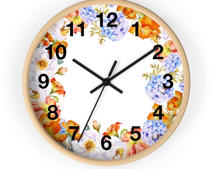 Bright Orange Sky Blue Bouquet Flowers Analog Wall Clock