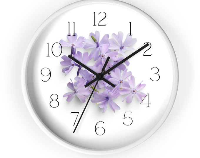 Floral Wall Clock With Sky Blue Periwinkle Bouquet