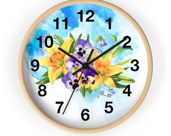 Flower Bouquet Of flowers Against A Sky Blue Background Analog Wall Clock