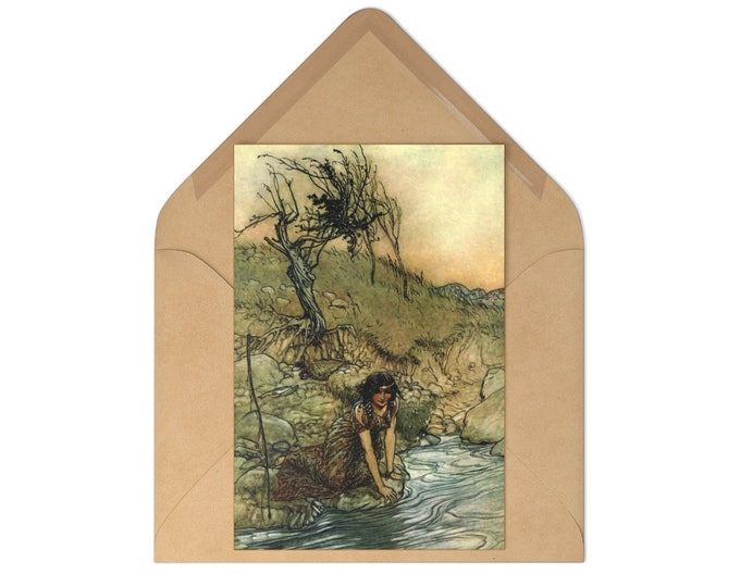 Postcards Set of 7 Featuring Arthur Rackham Print and Craft Envelopes