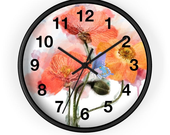 Red Poppies and Blue Butterfly Watercolor Analog Wall Clock
