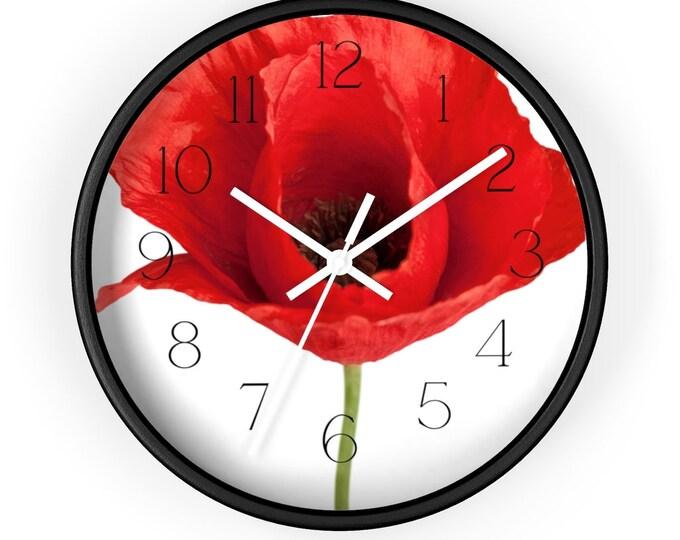 Big Red Poppy Minimalist Wall Clock